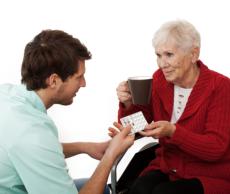 serving cofee to elder women